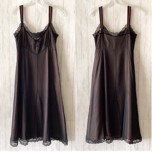 LK Bennett Black Silk Lace Chiffon Slip Dress 6